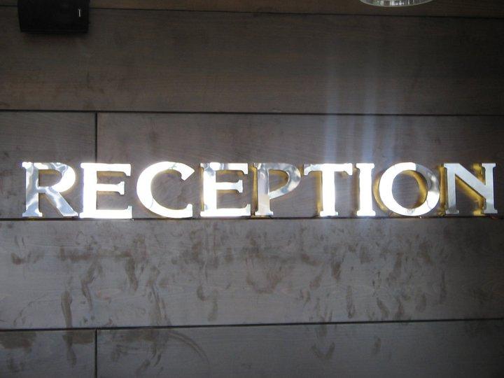 """Обемен надпис """"Recepcion"""""""
