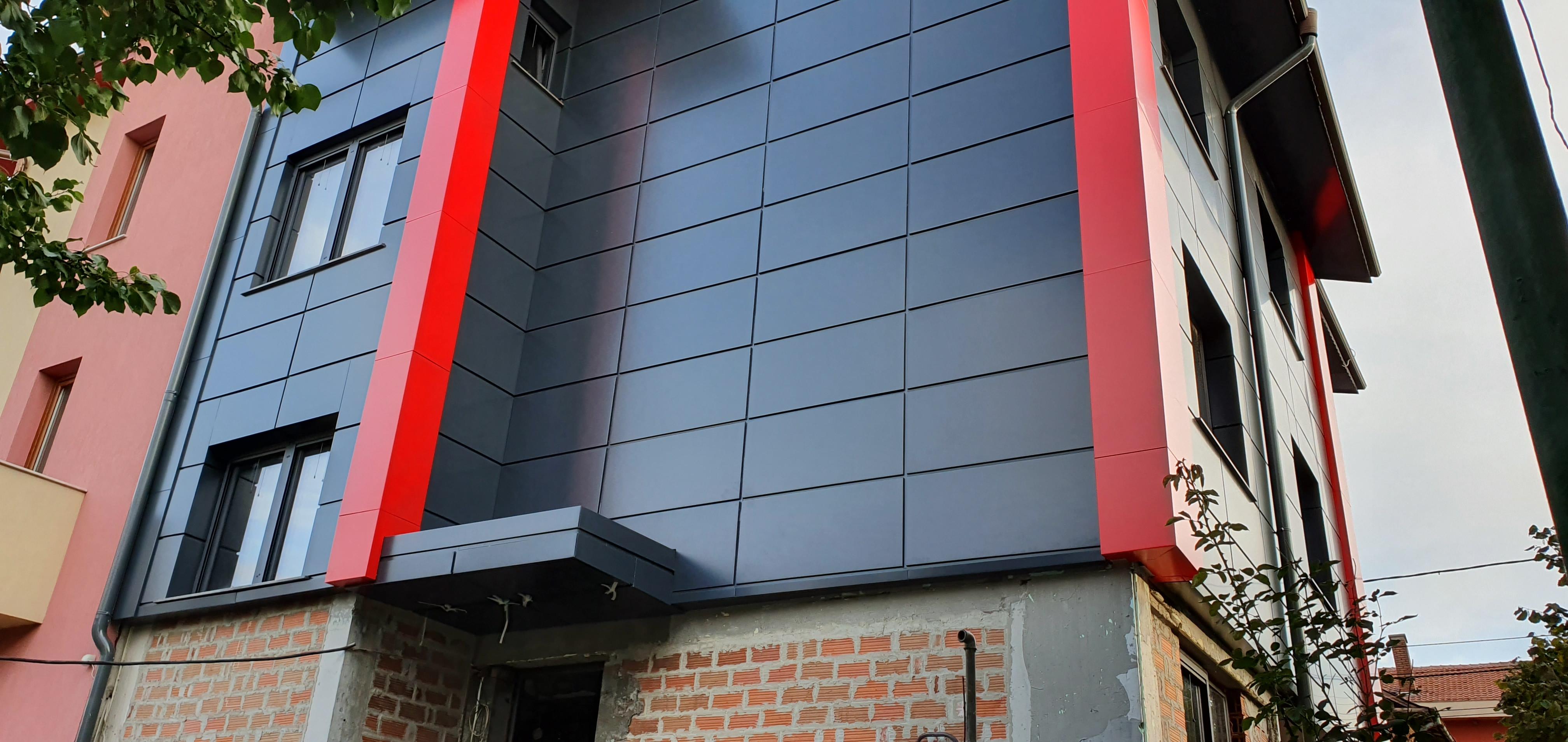 Облицовка на къща - окачена фасада с еталбонд