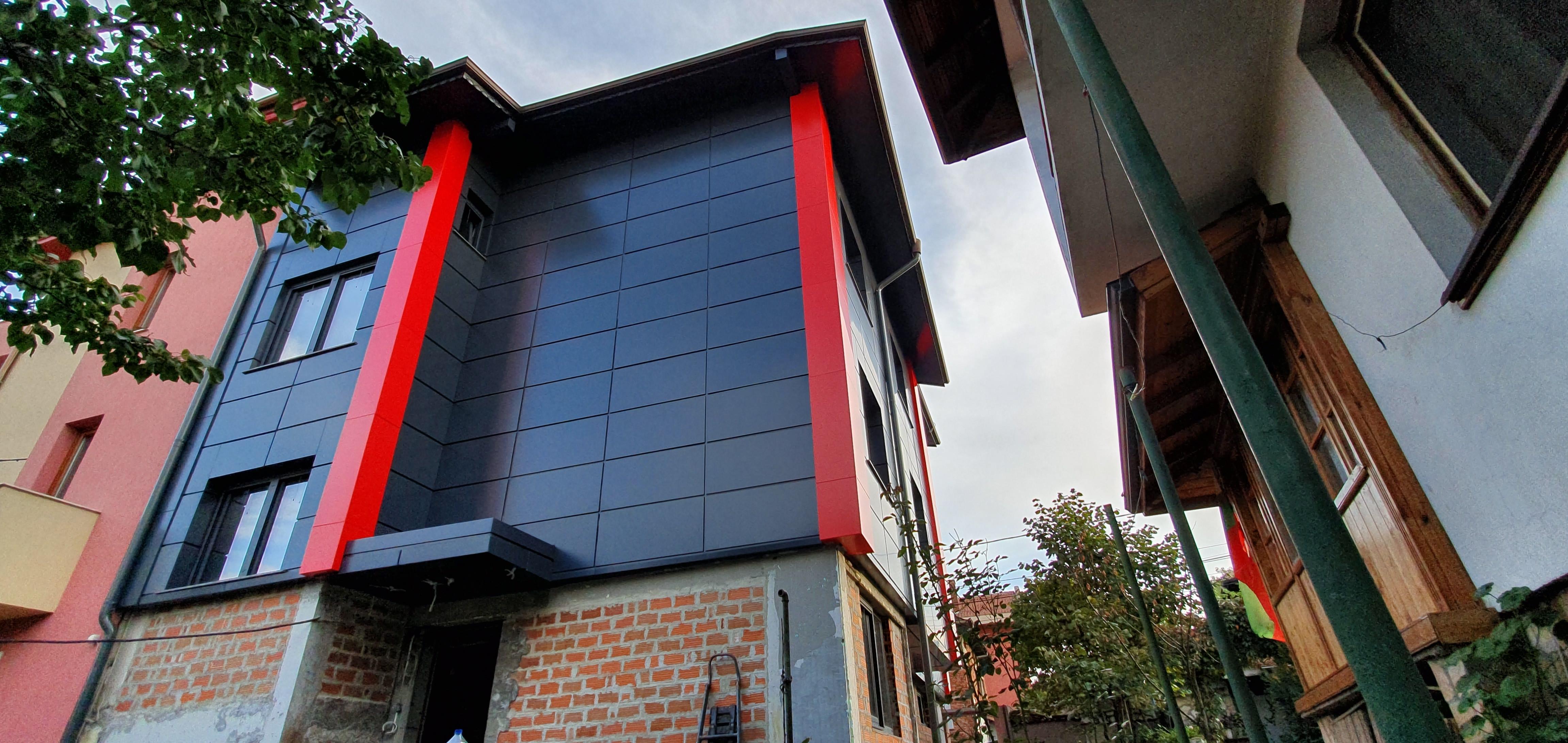 Облицовка на къща - окачена фасада с еталбонд 2