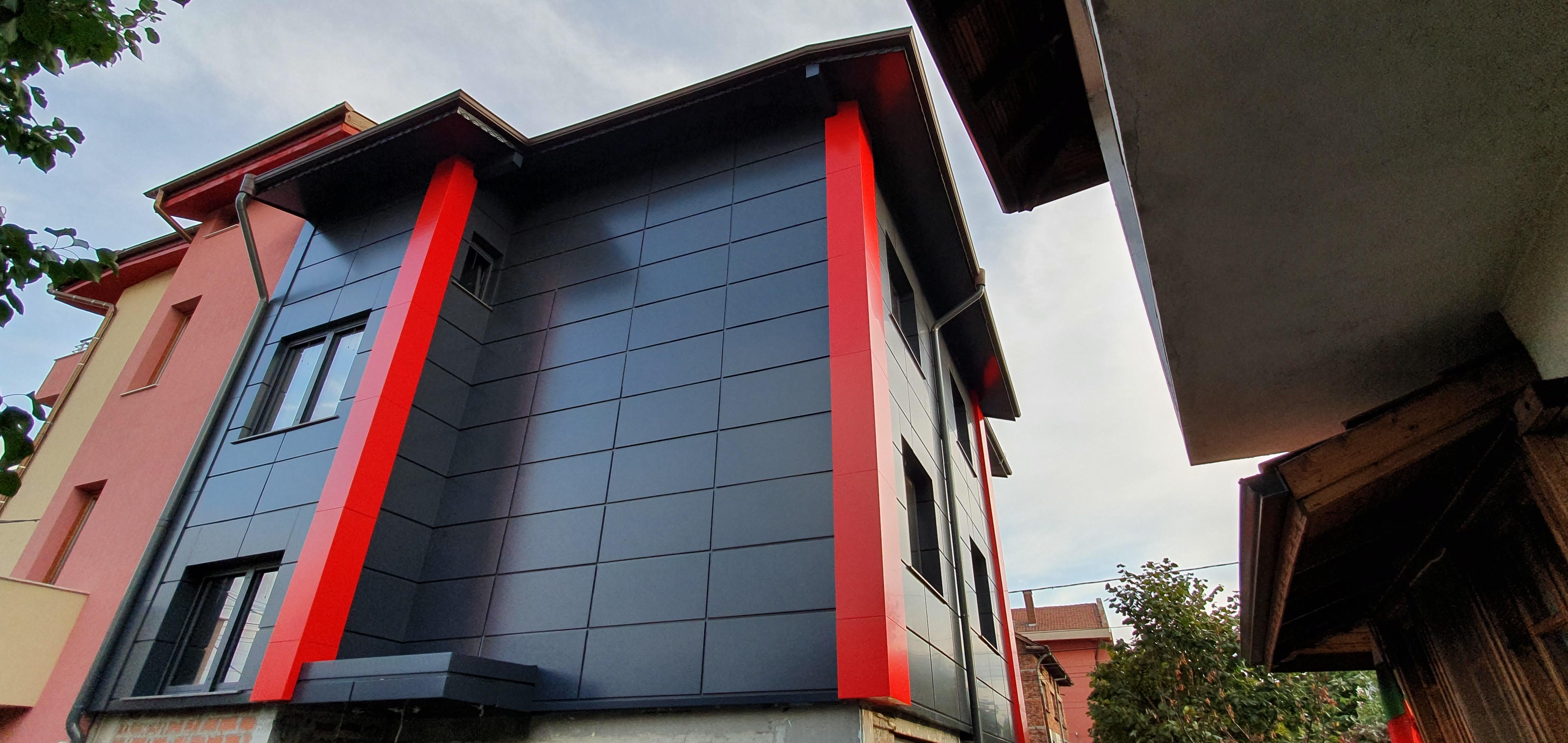 Облицовка на къща - окачена фасада с еталбонд 3