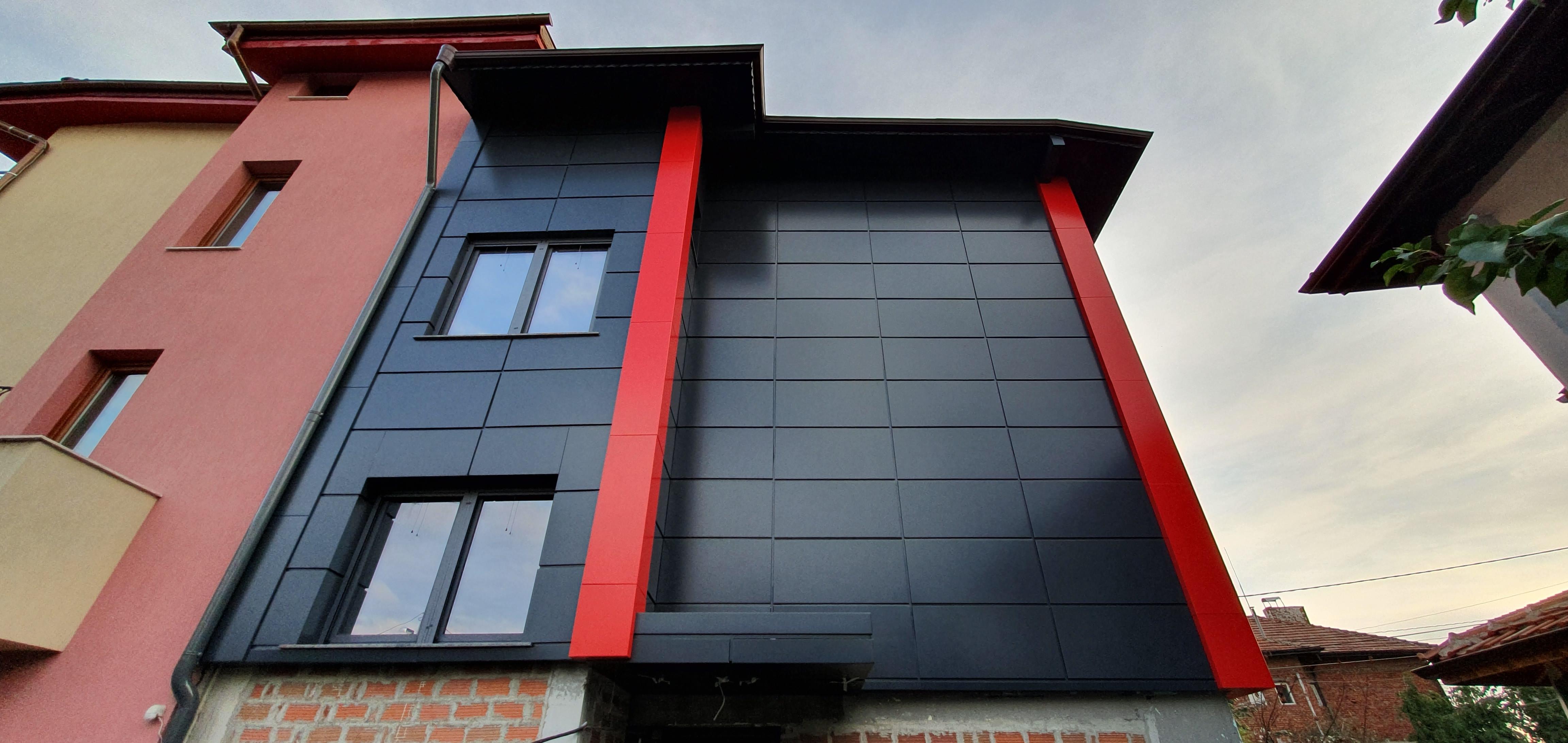 Облицовка на къща - окачена фасада с еталбонд 4