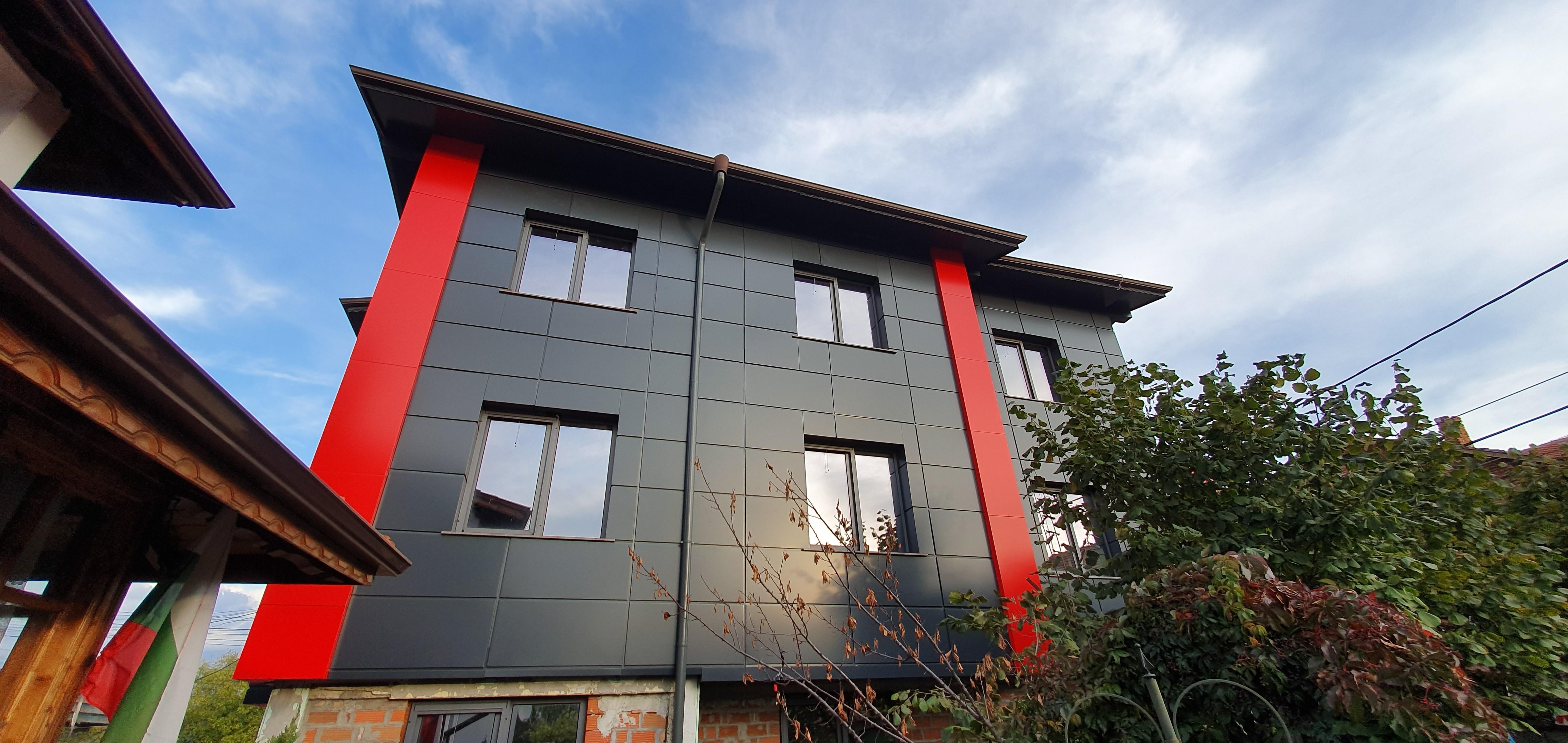 Облицовка на къща - окачена фасада с еталбонд 5